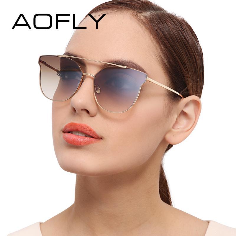 ac2cd67cd AOFLY Metal Sunglasses Women Brand Designer Vintage Sun Glasses ...