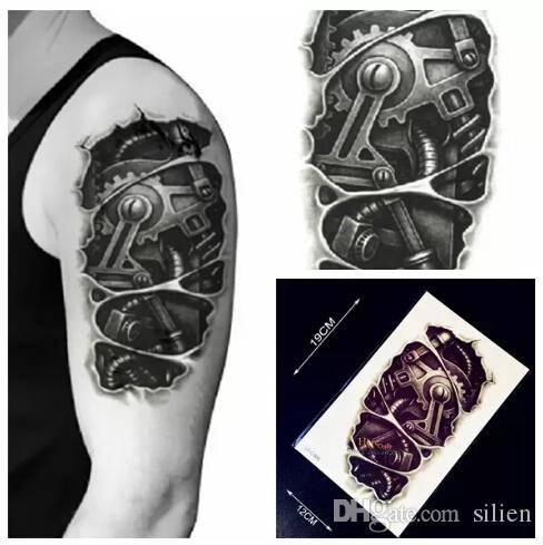 Wholesale New Design 3D Metal Robot Arm Waterproof Temporary Tattoo  Stickers Men HC09 Body Arm Sleeve Tattoo Removable Transfer Tatoo