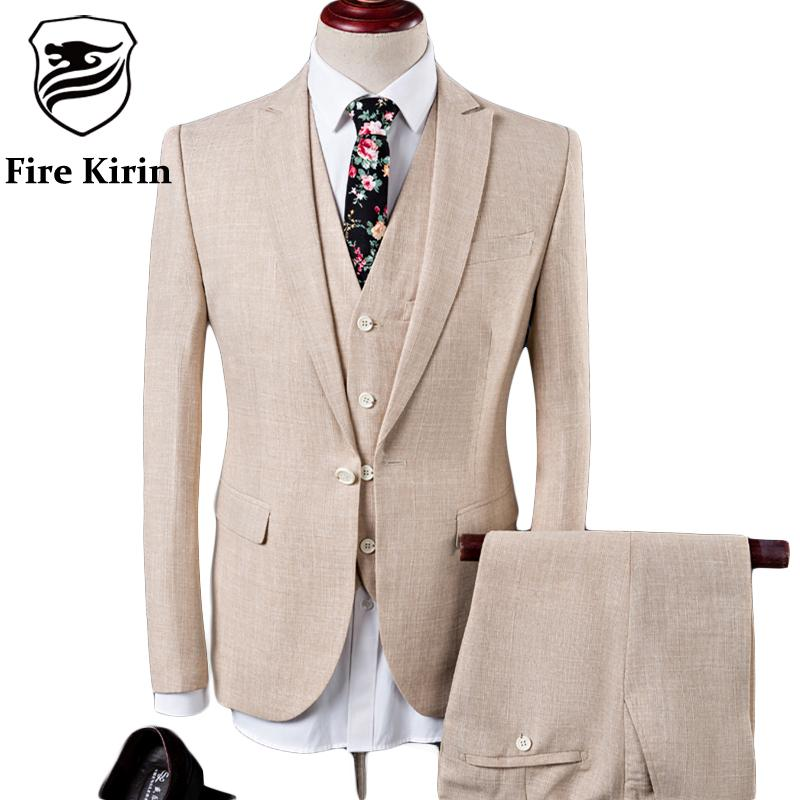 Fire Kirin Linen Suits Men 2017 Slim Fit 3 Piece Wedding Suits For Men Beige Blue Tuxedo Jacket Brand Mens Formal Suit Q342