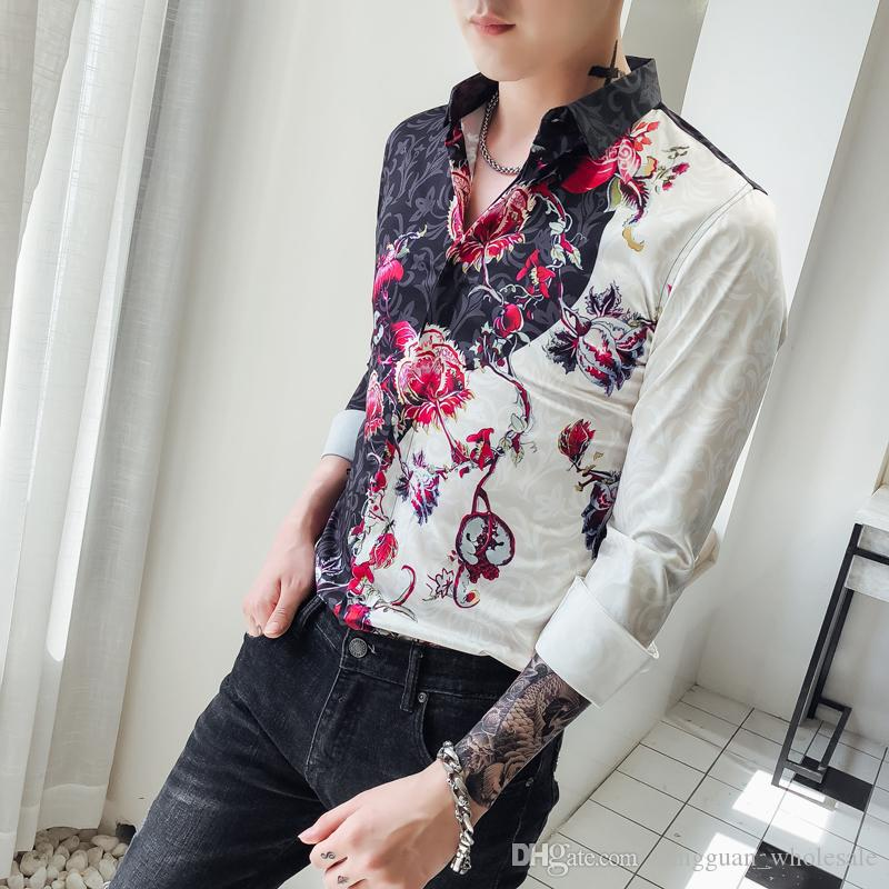 1417fe0951 Camicie fantasia uomo Slim Fit Camisa sociale masculina 2018 nuovo autunno  Club Party Prom camicia uomo fiore stampa uomini coreani vestiti