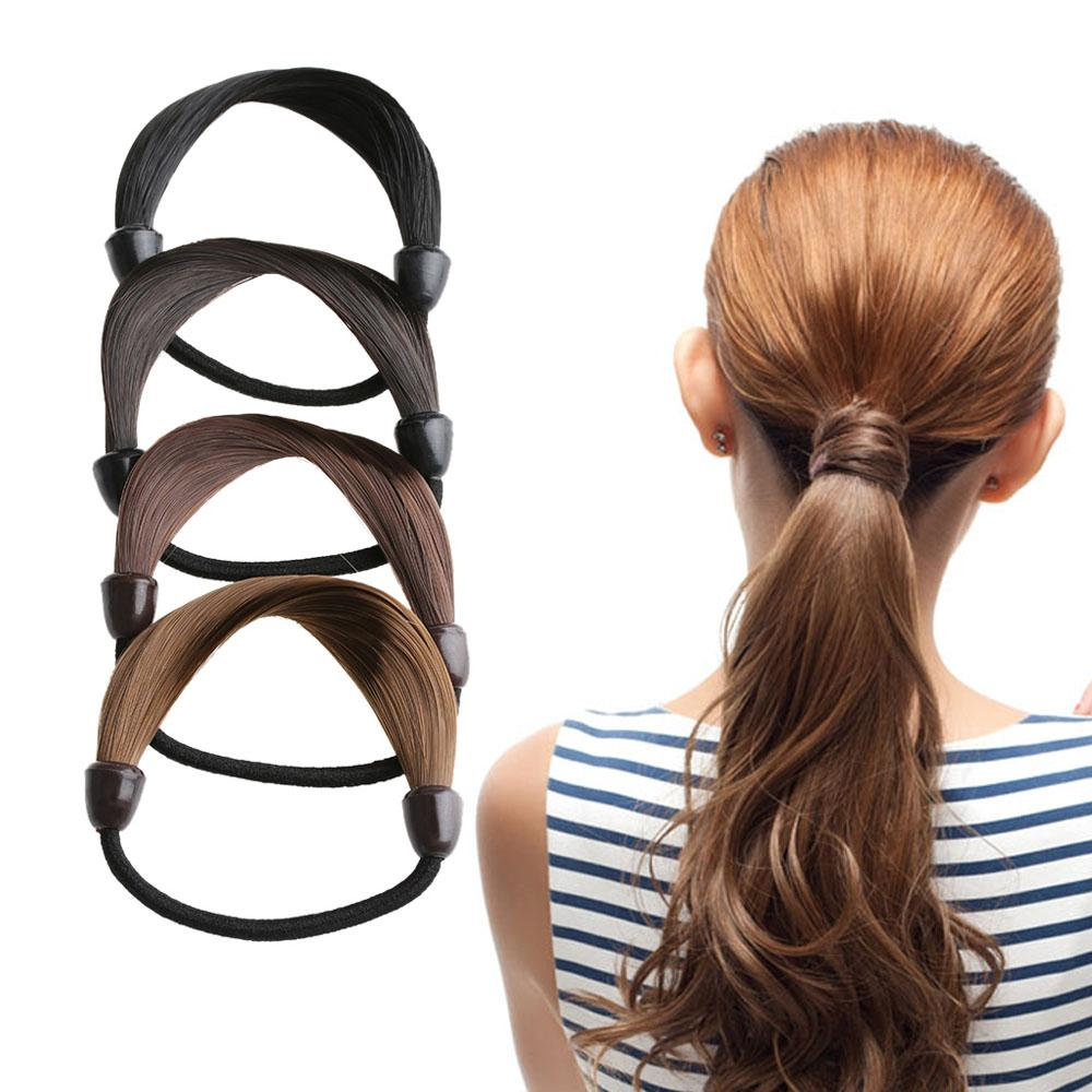 Girls Woman Hairpiece Accessories Rope Hairband Synthetic Wig Elastic  Headwear Ponytail Holder Hair Styling Tool AA1224 Foam Donut Bun Bun Foam  Donut From ... 999599e515c