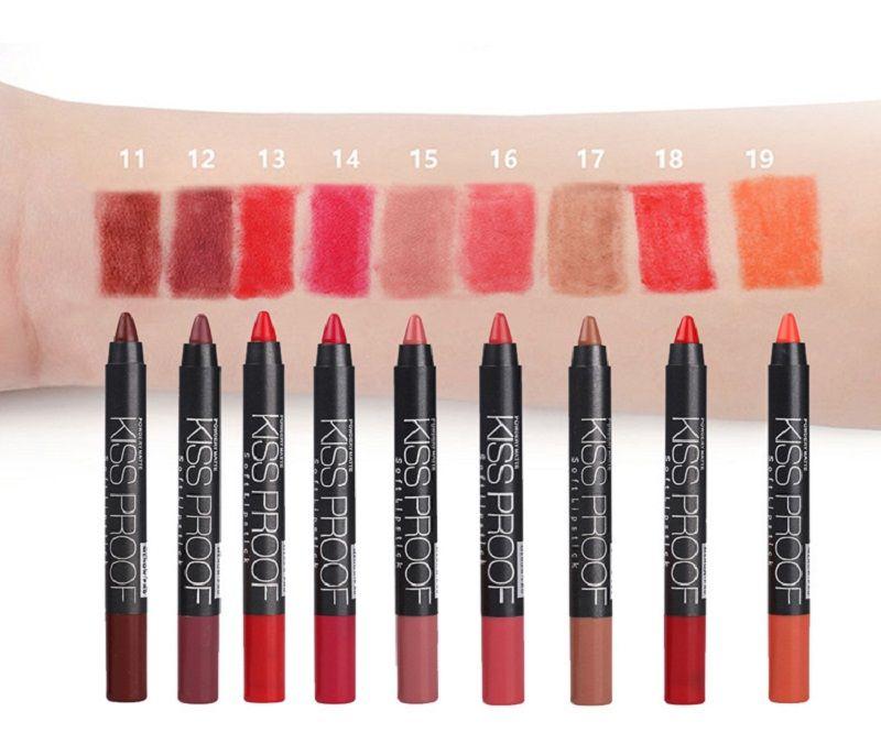 뜨거운 메노프 KISS PROOF 섹시한 아름다움 방수 지속 페이드 립스틱 + 펜 sharpener DHL 무료 배송