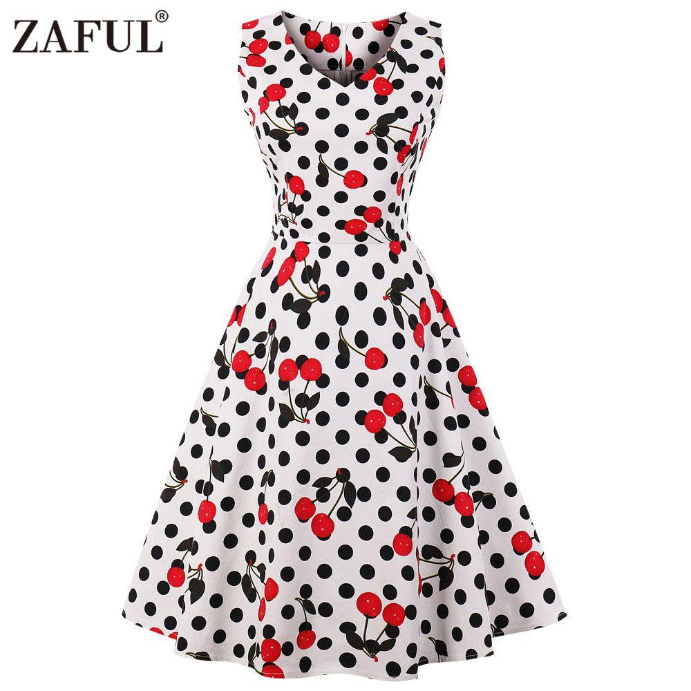 350781d851666 2019 ZAFUL Cherry Print Vintage Dress Women 2018 Summer Pin Up Dresses 50s  Rockbility Robe Plus Size A Line Party Dress Vestidos Red From Matilian, ...