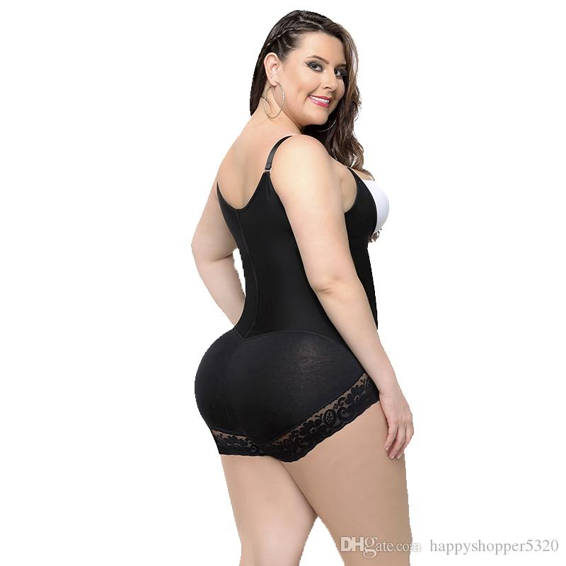여성 쉐이퍼 지퍼 S-6XL 섹시한 몸 셰이퍼 엉덩이 리프터 속옷 슬리밍 바디 수트 플러스 큰 크기 높은 압축 푸시 엉덩이 허리 트레이너 -