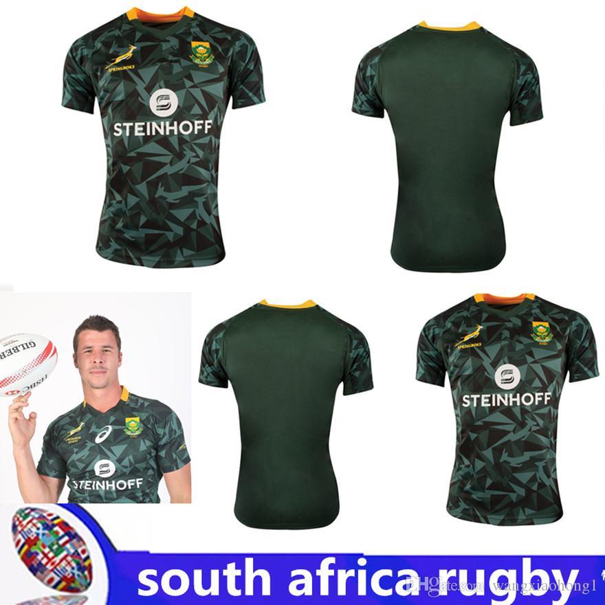 a13c046adbf 2018 2019 Mens South Africa Fan 7s Home Rugby Shirt Springboks South ...
