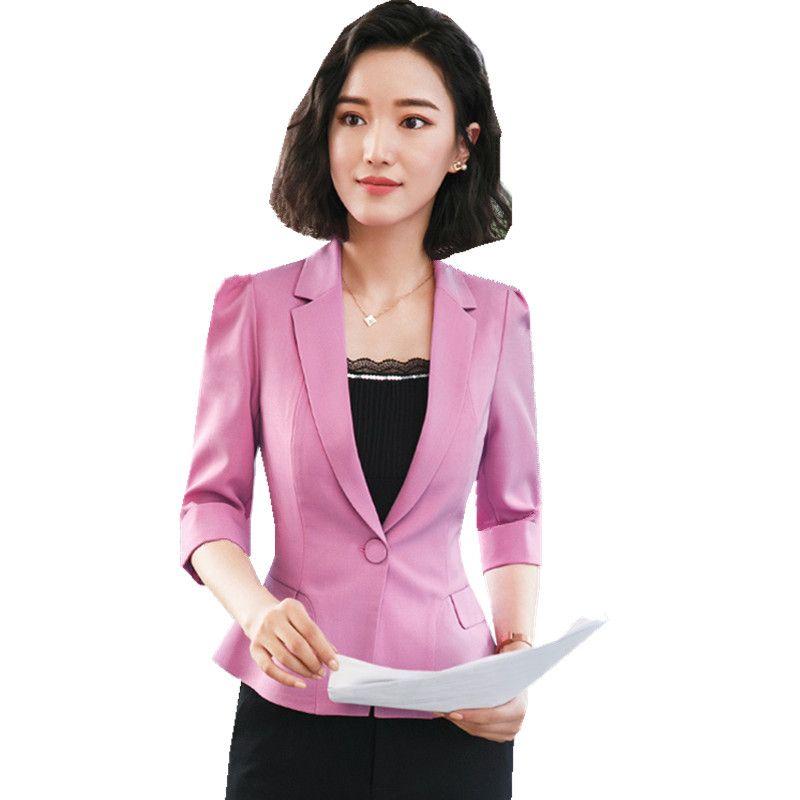 9b7be52bdd7 2019 Fmasuth Summer Work Clothes For Women Jacket Blazer 3 4 Sleeve Single  Button Slim Waist Feminino Blazer Office Wear YJR1885 From Balljoy