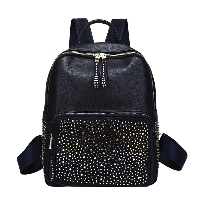 New Arrival Fashion Women Girl Leather Backpack Rivet Decoration Travel  Punk Style Rucksack Light And Soft College School Bag Dakine Backpack Best  Backpack ... 64b0e2bf26