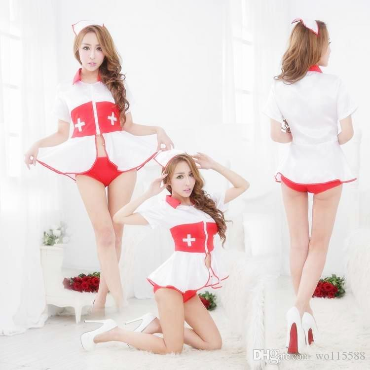 fc431b047a4b 2019 New Sexy Lingerie CosplayFree Halloween Before The Split White Nurse  Temptation Uniform Nurse Wear European And American Nurse From Wo115588