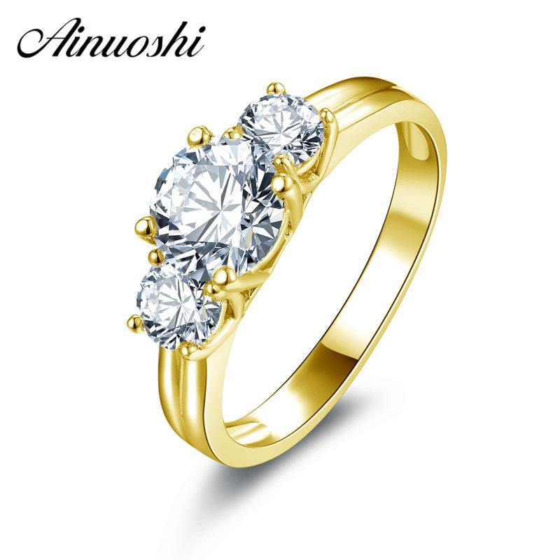 85a3e6433b80e AINUOSHI 10k Solid Yellow Gold Ring Luxury Design Bague 3 Stones 1ct Round  Cut Simulated Diamond Rings Real Gold Wedding Jewelry