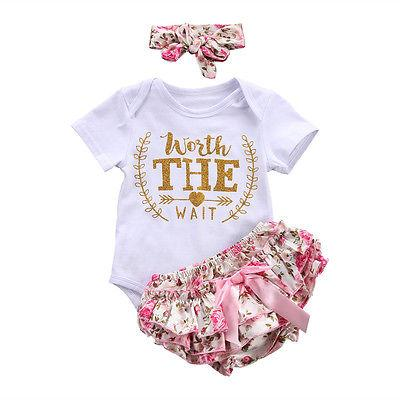 15fa697e6496 2019 Infant Baby Girls Summer Clothes Short Sleeve Letter Romper Floral  Triangular Pants +Headband Outfits Set 0 24 M From Coolhi