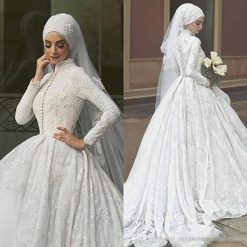 High Quality A-Line White Lace Bridal Gowns 2018 Modest Long Sleeves Appliques Muslim Wedding Dresses with Buttons
