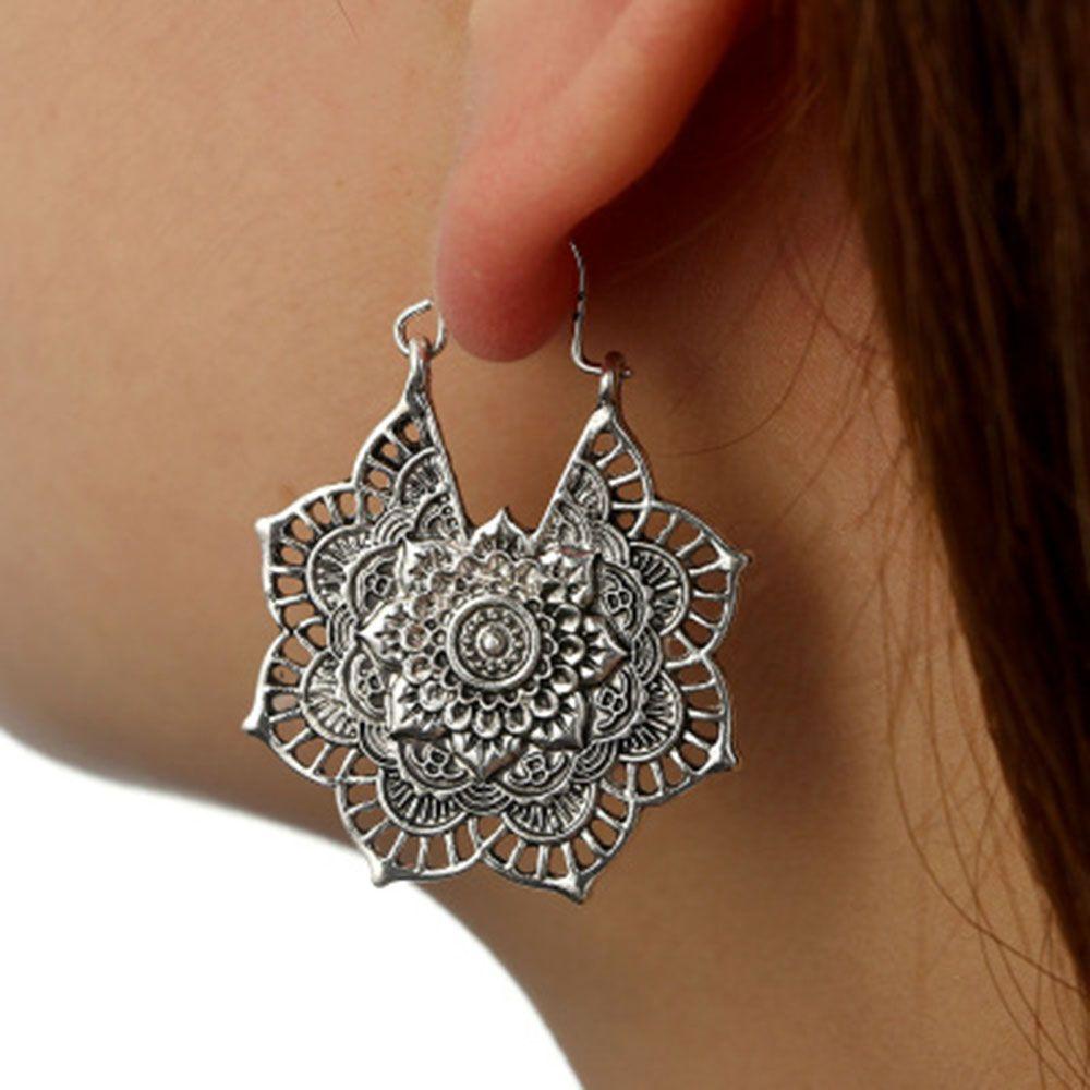 0addf6ef7 2019 Antique Silver Gypsy Indian Tribal Ethnic Hoop Dangle Mandala Earrings  Boho From Heheda1, $33.11 | DHgate.Com