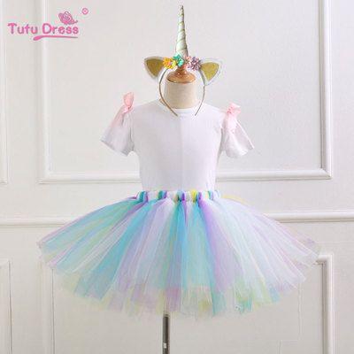 58405e442b New Unicorn Rainbow Suits Unicorn Tutu Skirts+Short Sleeve White T-shirt+  Rainbow Headband Hair Hoop Kids Cosplay Sets M034-3