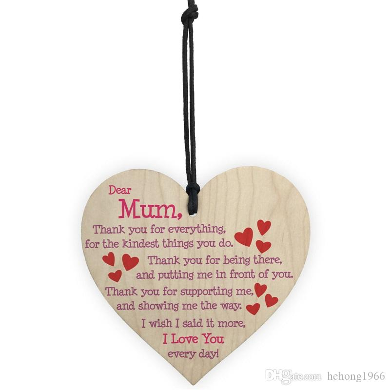 Wooden Heart Shape Love Pendant For Happy Mothers Day Decoration English Letter Poem Ornament Home Christmas Tree Decor 1 3ls Z