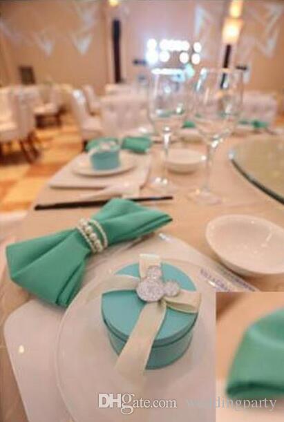 جديد لامعة بيضاء مستديرة تقليد اللؤلؤ منديل خواتم لعشاء الزفاف ، والاستحمام ، والعطلات ، اكسسوارات الديكور الجدول