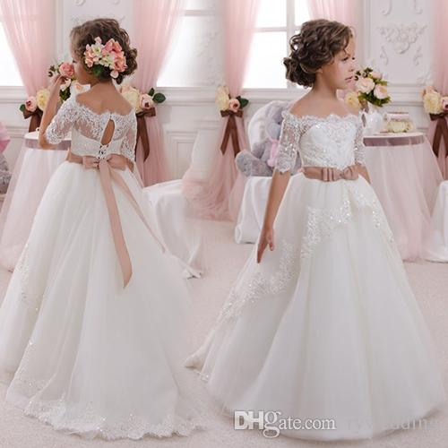 Costume Lace Bow Flower Girl Dresses For Wedding Dress Sequined ...