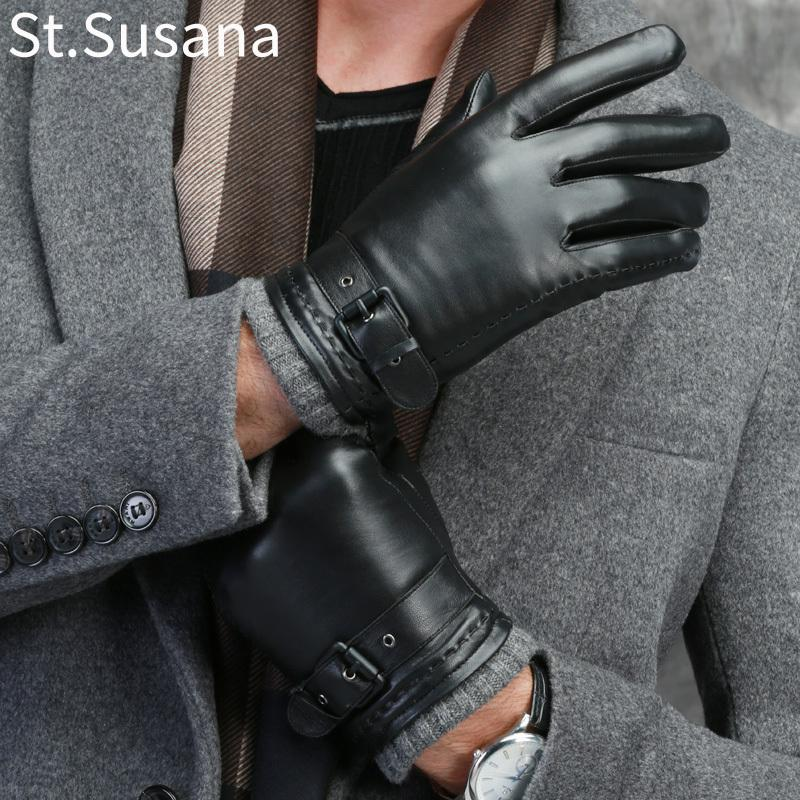 St.Susana 2018 Men Autumn Winter Genuine Sheepskin Leather Male fashion Touch Screen Warm Lining Gloves 588 C18111501