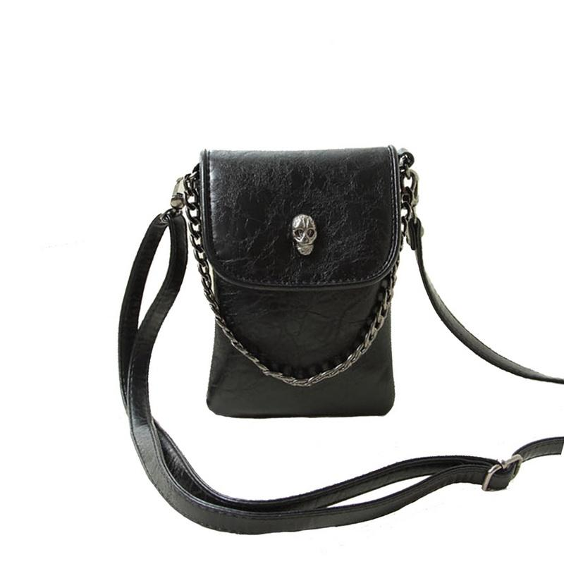 3d5bad90be68 Litthing PU Leather Crossbody Bags For Women 2018 Skull Punk Lady Shoulder  Bag Simple Metal Chain Small Handbags For Girls New Designer Handbags On  Sale ...