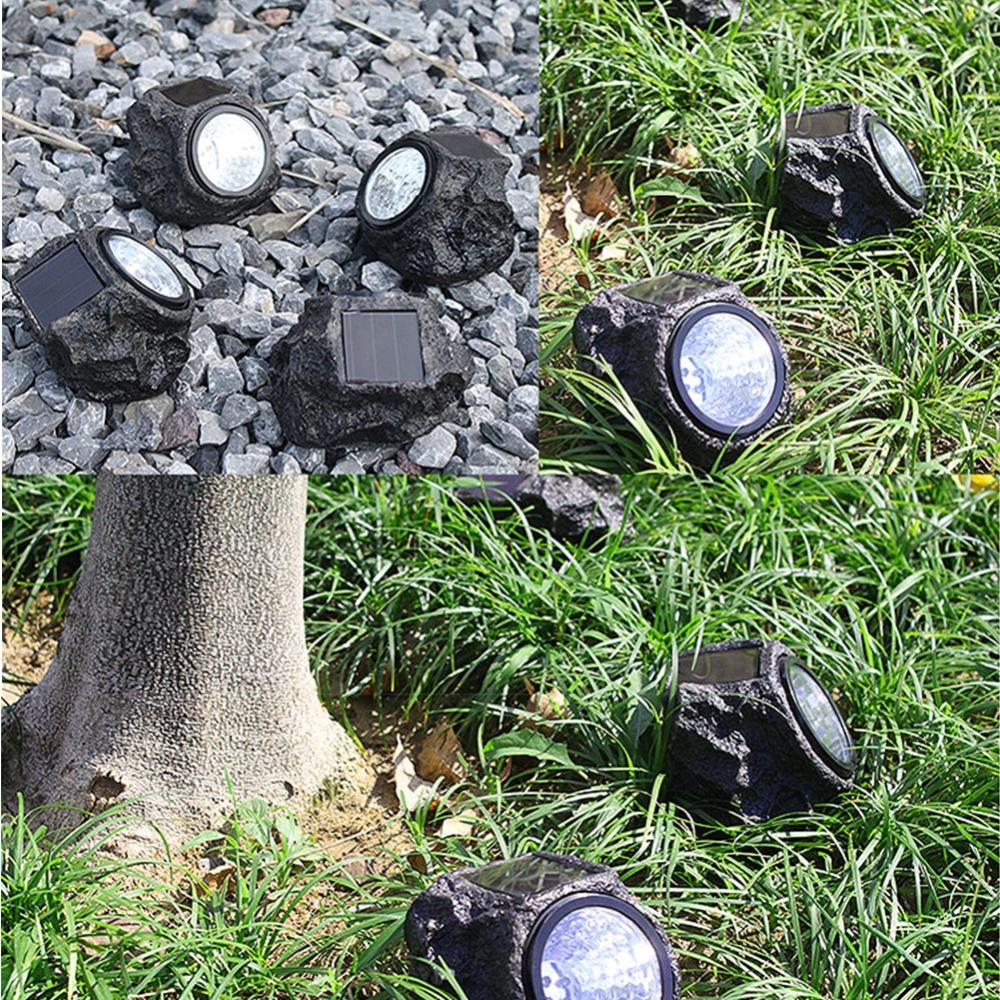 2PCS Solar Decorative Rock Stone Lights Materiale in resina 4 LED Outdoor Garden Yard Lawn Lamp imitazione pietra apparenza