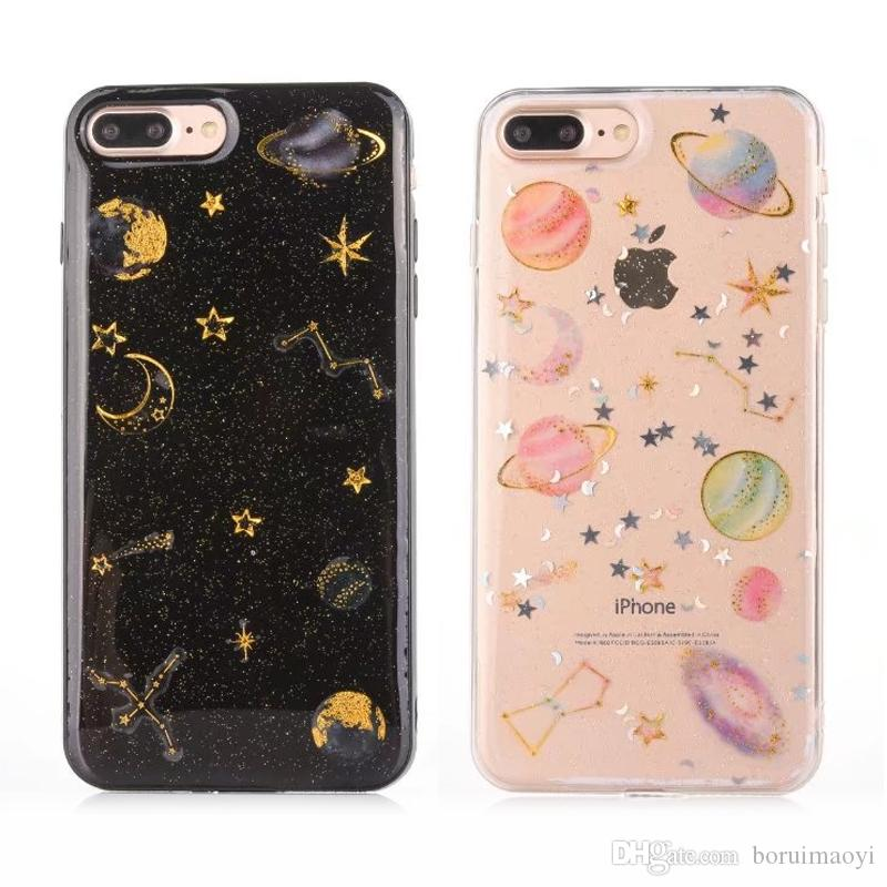 official photos ad10a 05026 Shockproof Space Planet Soft TPU Silicone Glitter phone Case Cover For  iphone 6 6s plus 7 8 plus For iphone X cases