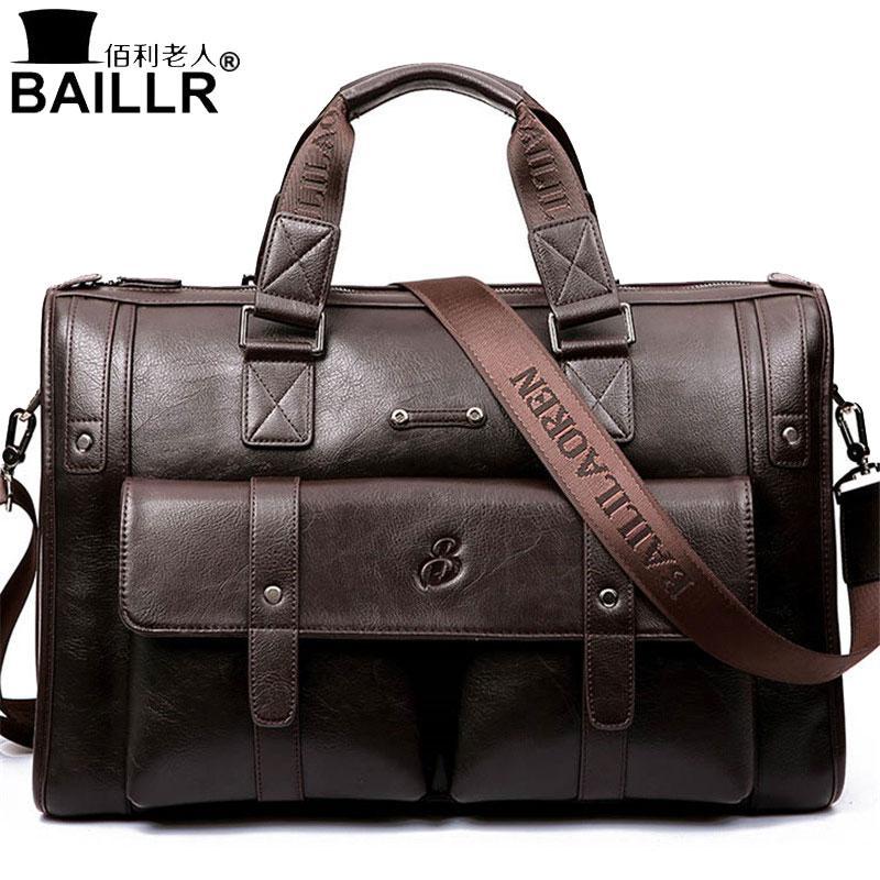 1e08b05bb7e9 BAILLR Brand Man Bag Leather Black Briefcase Men Business Handbag Messenger  Bags Male Vintage Men S Shoulder Bag Large Capacity Wallets For Women  Ladies ...