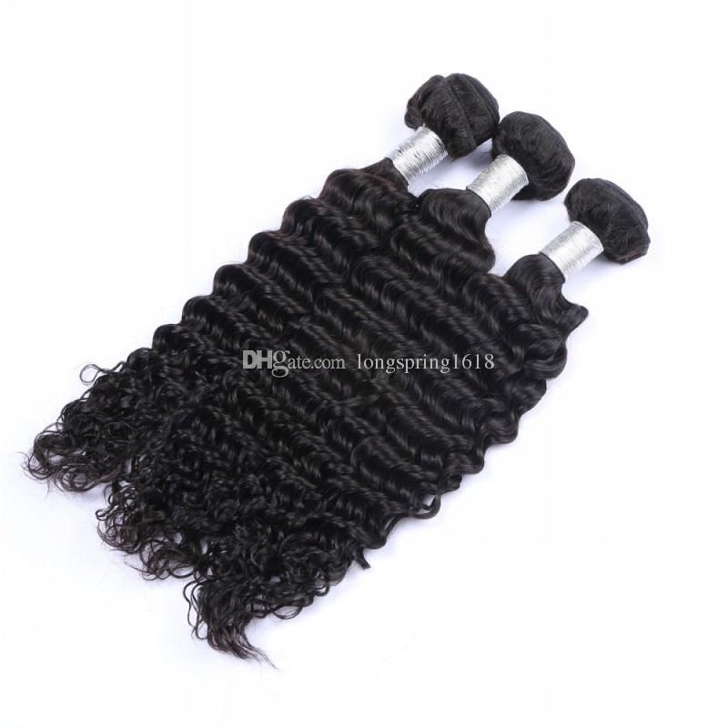 Brazilian Deep Wave 3/4 Bundles Unprocessed Peruvian Malaysian Indian Cambodian Virgin Deep Wave Human Hair Extensions Brazilian Curly Hair