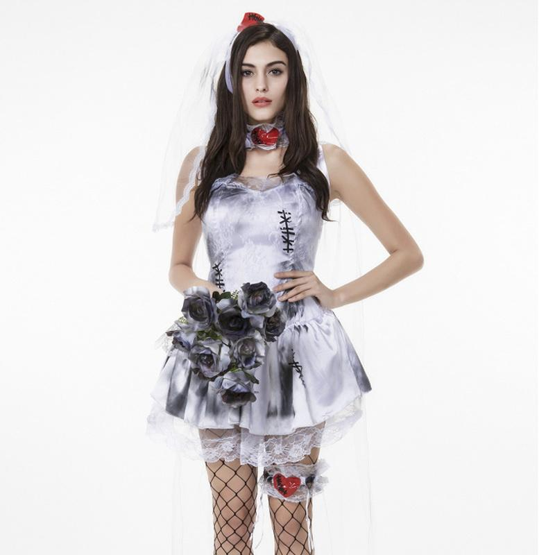 umorden halloween purim costumes for women zombie corpse bride costume short love patch fantasia cosplay dress for adult woman haloween costume popular