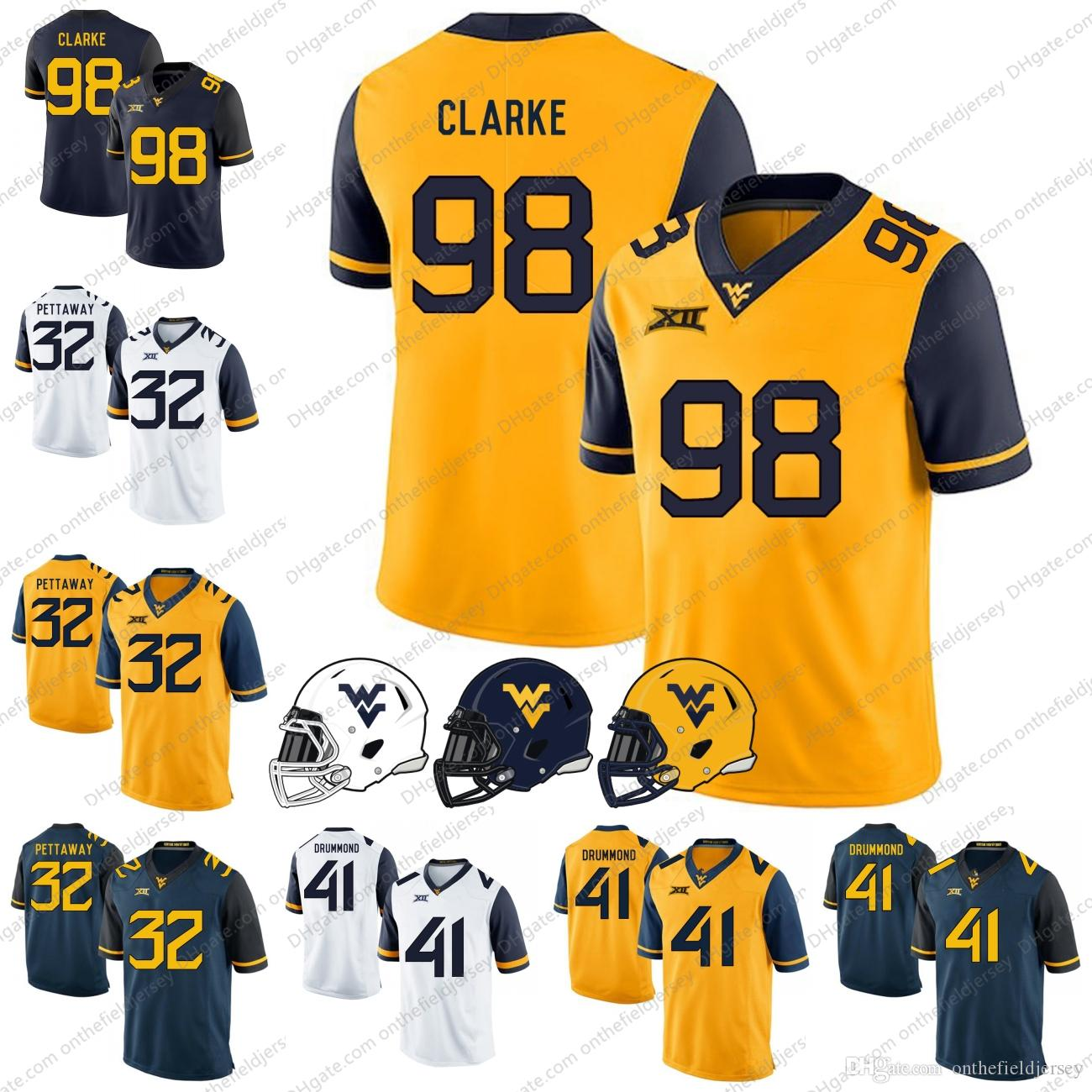 2019 West Virginia Mountaineers 2018 NEW STYLE  98 Will Clarke 41 Elijah  Drummond 32 Martell Pettaway College Football Jerseys S 3XL From  Onthefieldjersey 0f53cdebe