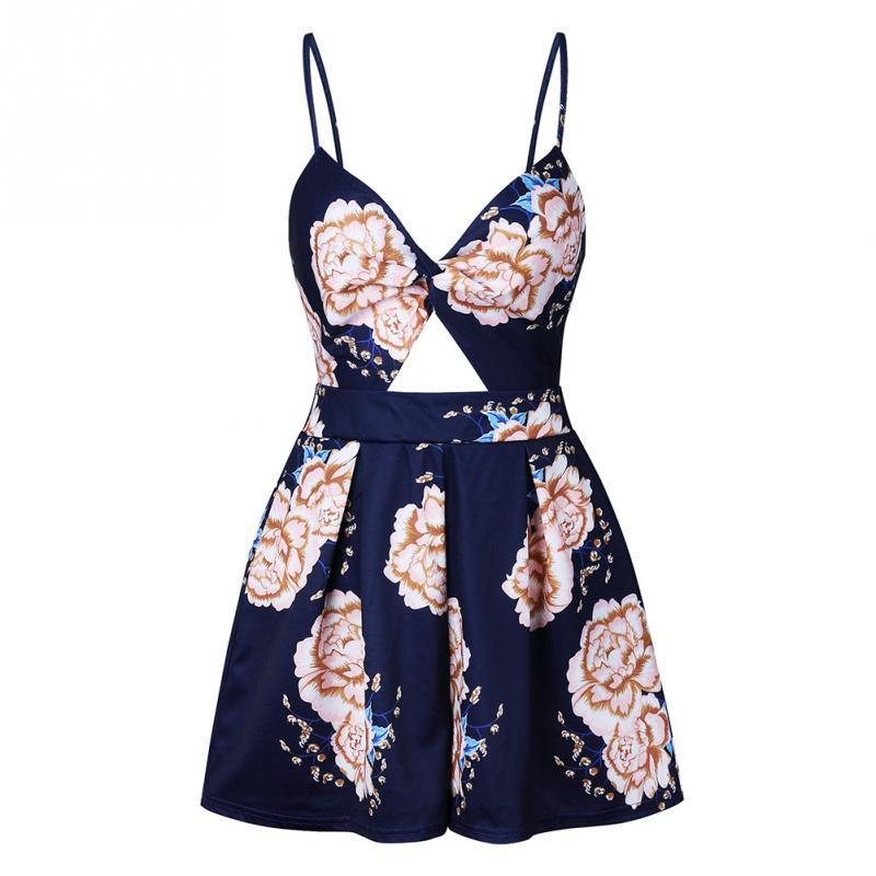 15e69da1c2 Women Holiday Mini Floral Printed Playsuit Jumpsuit Rompers Summer Beach Sleeveless  Shorts Slip Boho Jumpsuit Women In Dress Sun Dresses For Sale From ...