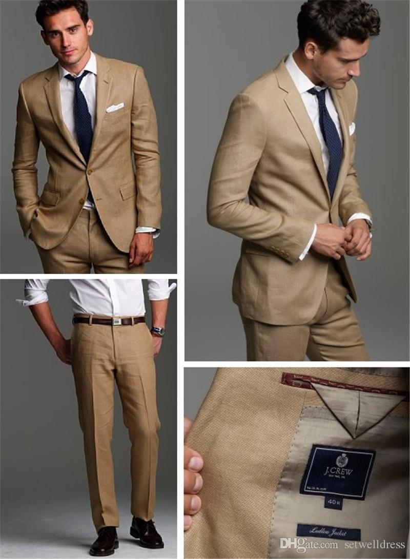 New Cheap Custom Made Beige Groom Suits Slim Fit Two Button Wedding Suits for men Two Pieces Men Suit Groom Wedding Suits Jacket+Pants