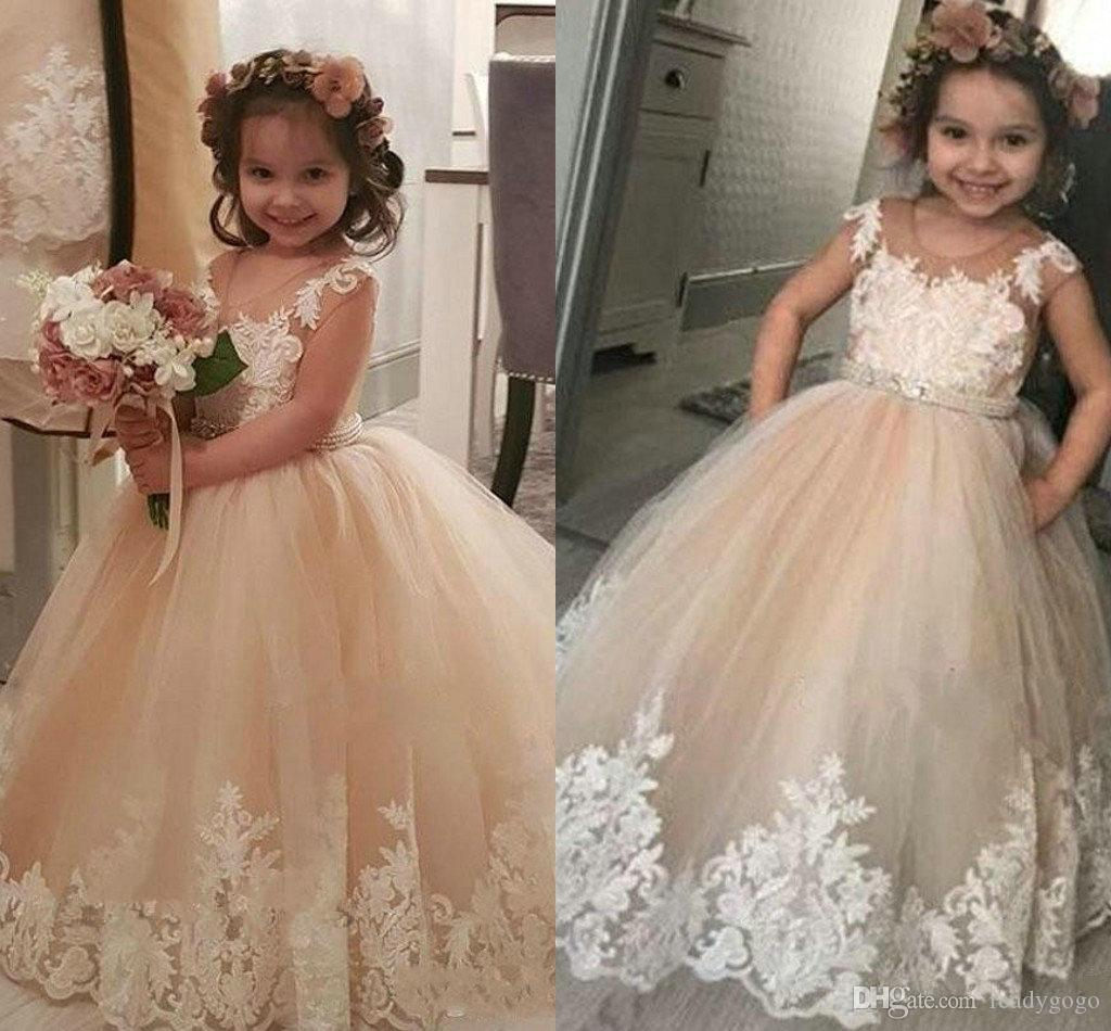c97535724b6 Champagne Tulle Ivory Lace Flower Girls Dresses For Country Weddings Sheer  Neck Jewel Ball Gowns Floor Length Appliques Girls Pageant Dress Flower Girl  ...