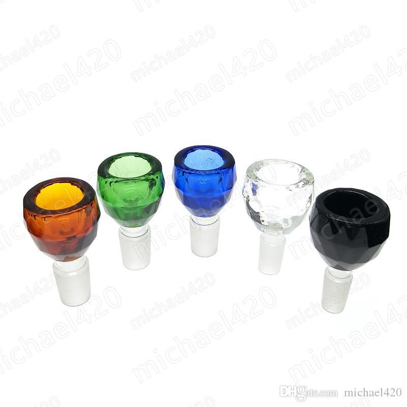 유리 bongs 유리 봉 물 파이프 14.4mm 18.8mm에 대 한 뜨거운 다채로운 남성 공동 유리 그릇