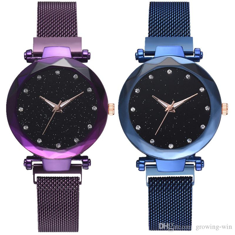 New popular women simple roma dial Magnet mesh watch hot fashion watches fashion ladies female dress Starry Sky mesh quartz wrist watch