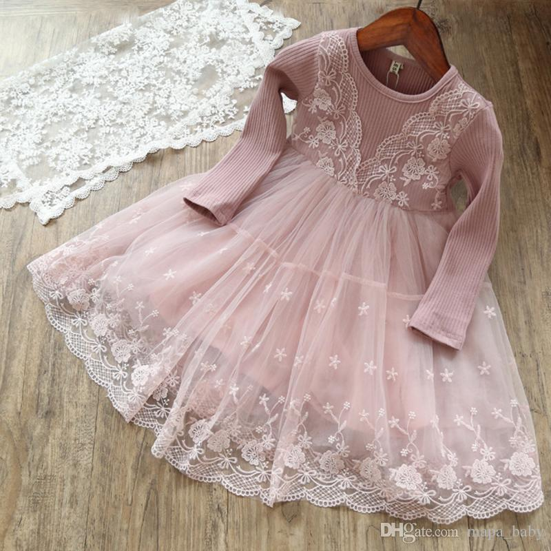 4d48befec717 2019 Kids Girls Knit Sweater Dresses Baby Girl Tulle Lace TUTU Dress ...