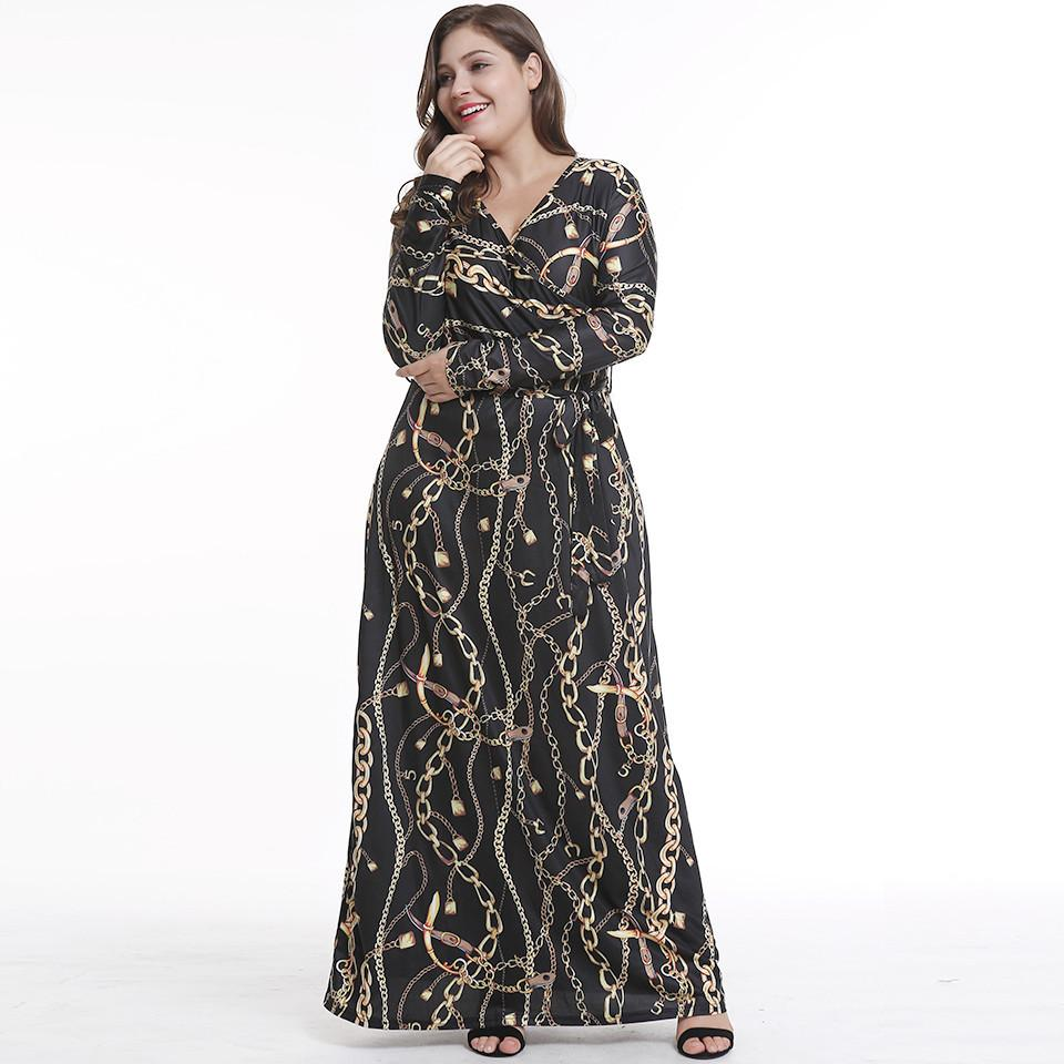 26f8385444 S 2XL Lady V Neck Long Sleeve Dress Night Party Evening Maxi Dress Lady  Spring Autumn Brand Floral Print Dress Dresses Shopping Womens Floral  Dresses From ...