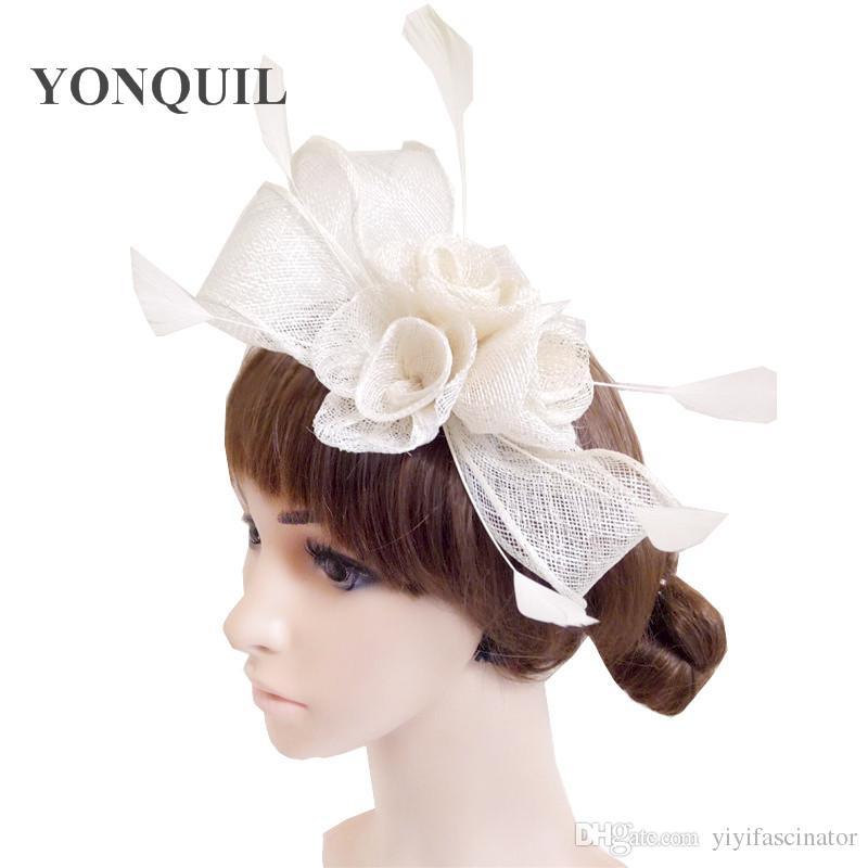 Select Sinamay Ladies Fasinctor Hats 3 DIY Rose Decor Beautiful Headpiece Headbands  Nice Bridal Hair Accessories Party Hats SYF242 Hair Hats Hat With Veil ... 780da443e4d