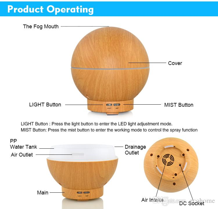 Wood Grain Essential Oil Diffusers Ultrasonic Humidifier High Capacity Globe Shape Cool Mist Humidifiers for Home Office Spa Yoga