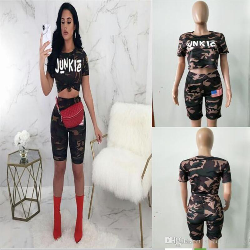 2019 Comoflog Junkie Women Tracksuit Sexy Outfit Short Sleeve Crop