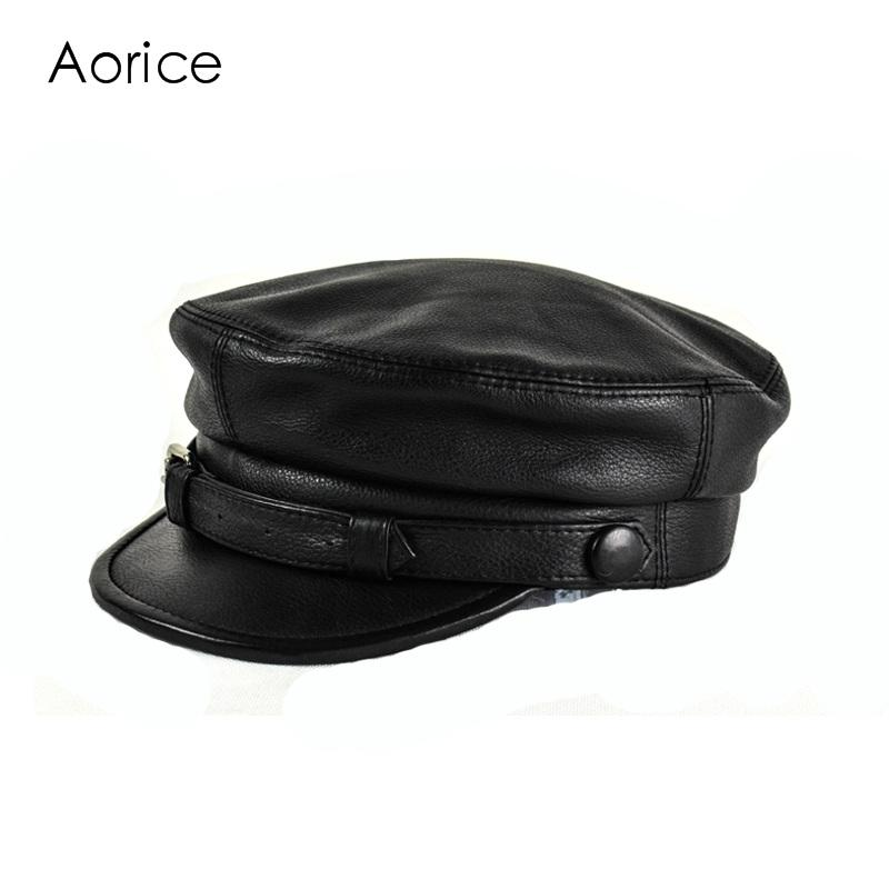 HL167 F Spring Genuine Leather Baseball Cap Hat Men S Brand New Cow Skin  Leather Newsboy Caps Hats Black Color Army Cap Snapback Caps Fitted Hats  From ... 2b1dfde65076