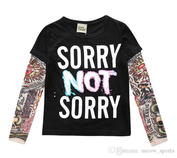 2018 Boy Clothes Cotton T-shirt Long Sleeve Children Hip Hop Tee Shirts Novelty Tattoo Sleeve Baby Girl Tops Spring&autumn KidsTop