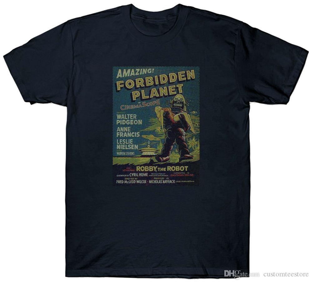 Forbidden Planet T Shirt 1950's Sci Fi Film Movie Retro Vintage T-Shirt Uomo Male Art Teacher Custom manica corta XXXL Cotone Estate