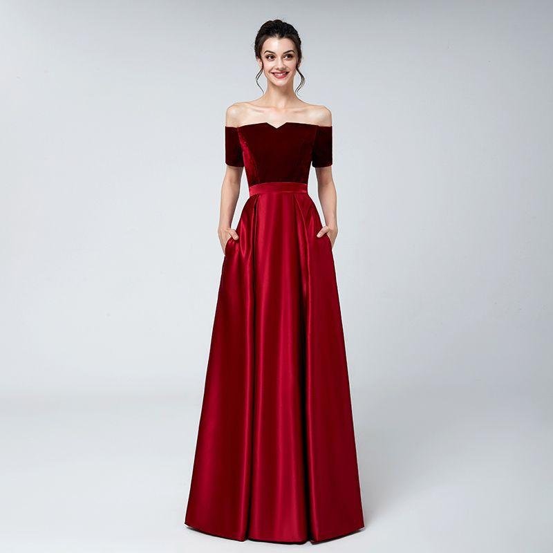 2018 Real Red Velvet Evening Dresses Plus Size Off Shoulder Short ...