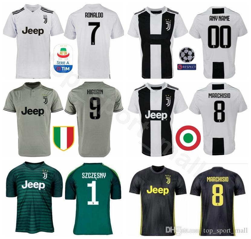 d5a94df3f 2019 FC Juventus Soccer Jersey Men Serie A 18 19 Season 23 EMRE CAN 49  CUADRADO 8 MARCHISIO SZCZESNY Goalkeeper Football Shirt GK Kits From  Vip_sport, ...