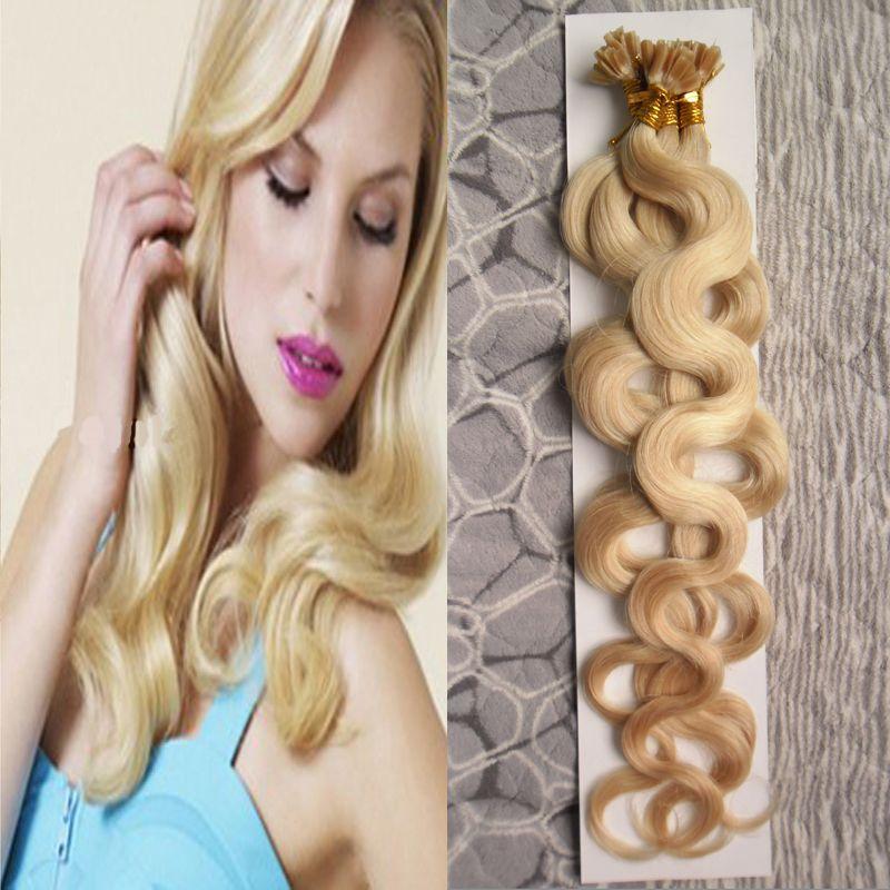 613 блондинка девственные волосы тела волна U наконечник наращивание волос 100 пряди 100 г Реми предварительно связали кератиновые капсулы волос