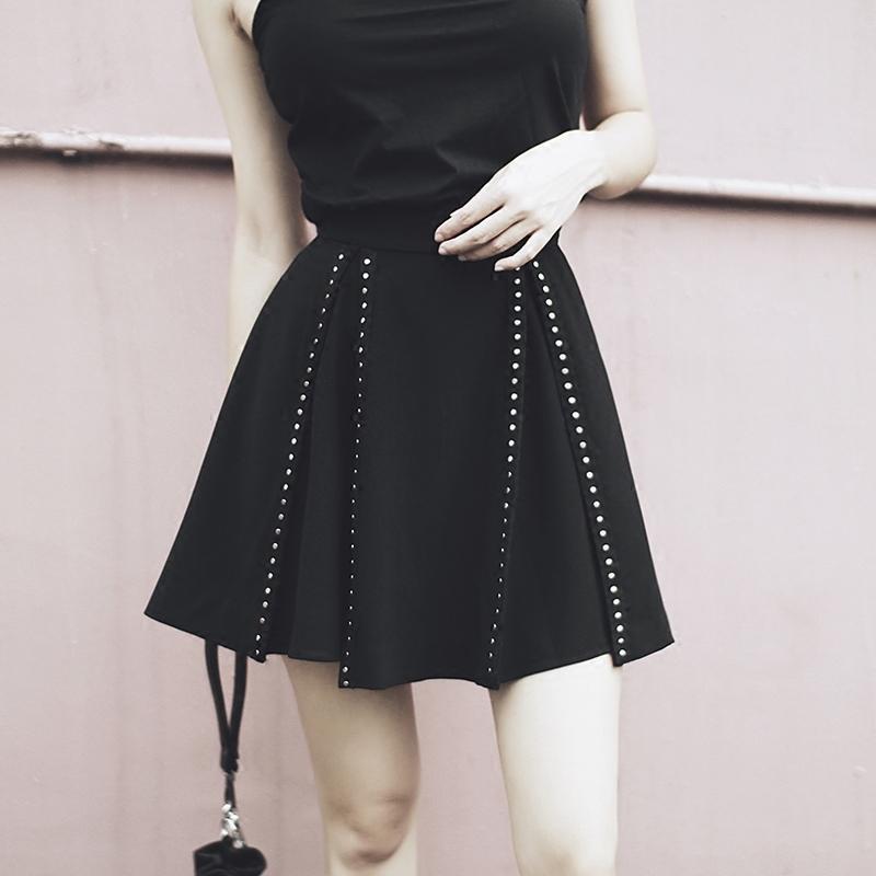 d08960efb5 2019 Punk Rivet Mini Skirt A Line High Waist Chic Retro Womens Harajuku  Short Goth Skirts 2018 Summer S916 From Ruiqi03, $28.23 | DHgate.Com