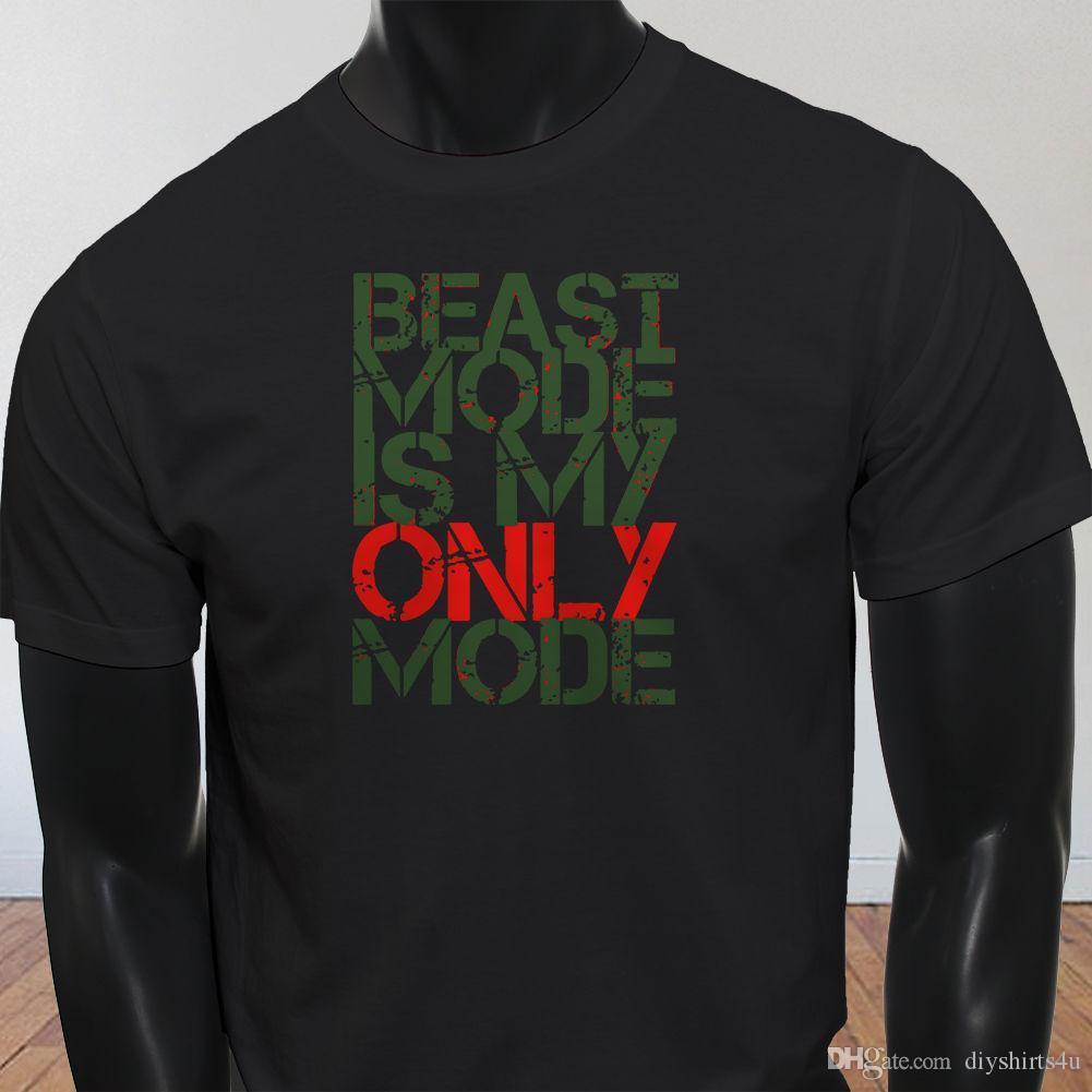 3bb9f46b3a1d33 Großhandel Workout Fitness Studio Gewichtsverlust Beast Mode Ist Mein  Grüner Modus Herren Schwarz T Shirt T Shirts Shirt Herren 3XL Kurzarm  Baumwolle ...