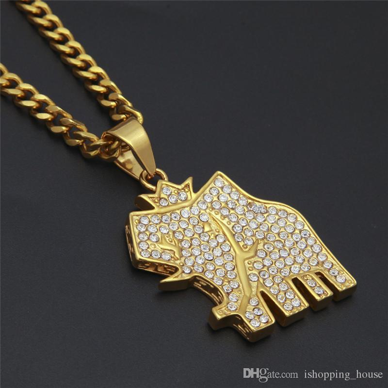 Larga duración del color Collar de Oro de acero inoxidable 316L plateado del elefante del Rhinestone Hombres Mujeres rapero collar bonito regalo NL-603