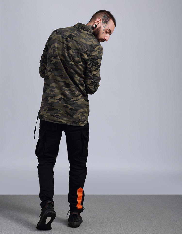 TKPA Mens Camouflage Casual Shirts Junge Teenager Hip Hop Punk Chic Stil Lange Lose Shirts Tops Langärmelige Tees