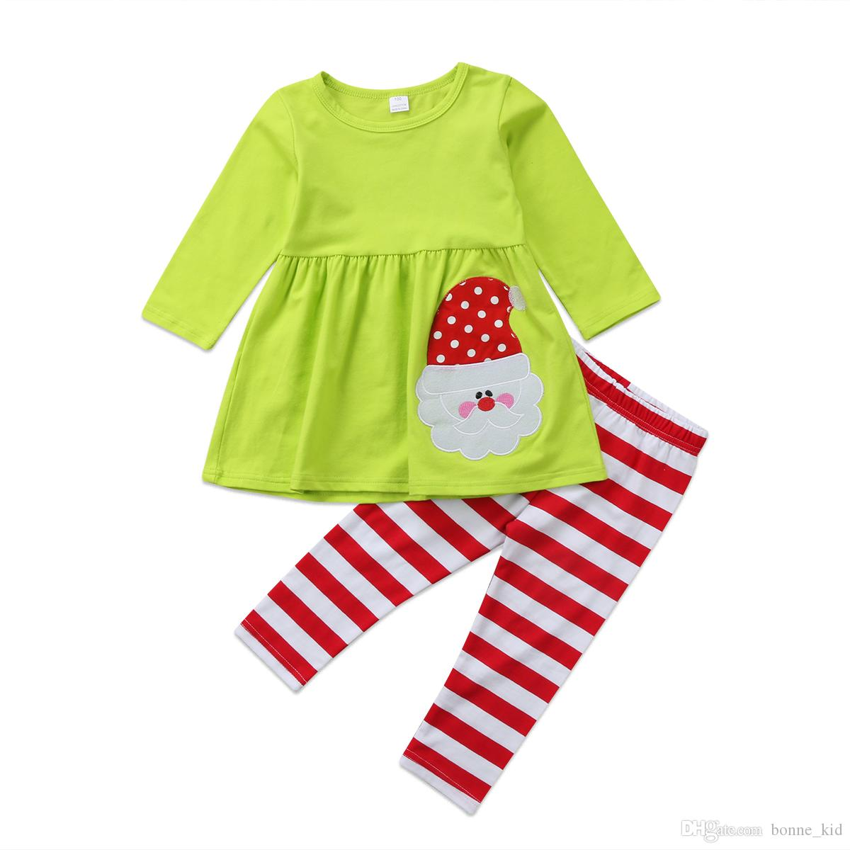 2019 Kid Girls Christmas Santa Top Striped Pants Pajamas Dress Outfit XMAS  Kids Clothing Costume Baby Clothes Boutique 2 7Y From Bonne kid 0a4b3092b
