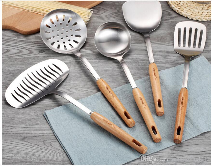 High Quality Cookware Sets 304 Stainless Steel Kitchen Cooking Tools Set Non-slip Heat Resistant Wooden Handle Kitchenware Utensil Set